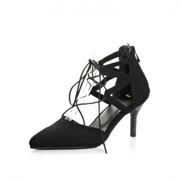 Black Plaid Lace Up Pointed Toe Sexy European Style High Heels