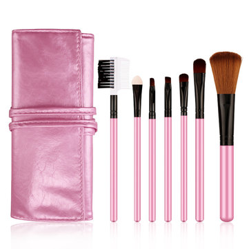 BIOAQUA 7Pcs Makeup Brushes Eyeshadow Eyebrow Foundation Powder Tools With Pink Bag