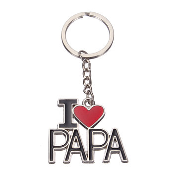 I Love Papa Alloy Enamel Keychain Best Gift for Father's Day