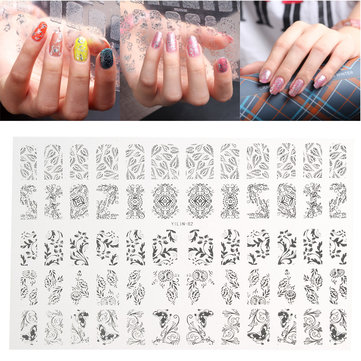 3D Silver Flower Nail Art Stickers Acylic Gel Tips Mixed Shape Decal Decoration DIY Salon