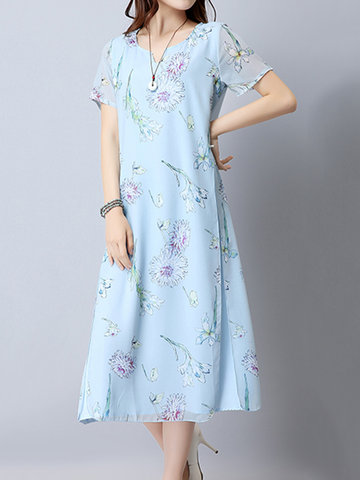 Women Floral Printed Fake Two Pieces Short Sleeve Vintage Dresses