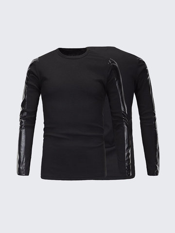 Fashion Top Tee PU Leather Stitching Sleeve Black Round Neck Long Sleeves T-shirt for Men