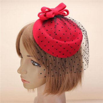 Women Fascinator Pillbox Felt Wool Hat Hair Clip Formal Dress Bowknot Veil