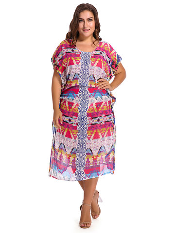 Bohemian Women Printed Side Split Beach Cover Up Dress
