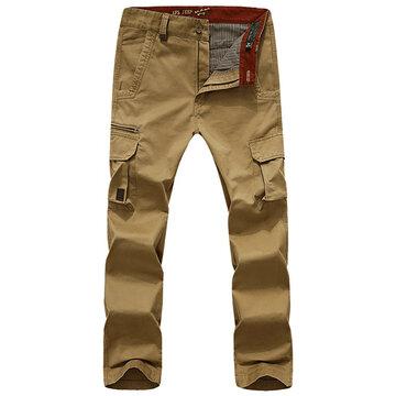 Mens Outdoor Multi-pocket  Soild Color Casual Pants