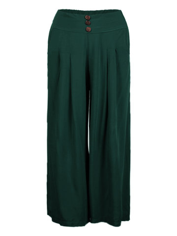 Casual Women Plus Size High Cintura Pure Color Cotton Wide Leg Pants