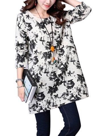 Повседневная женщина Loose цветочные печатных белье с длинным рукавом блузка