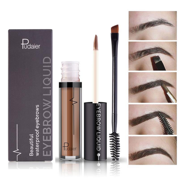 Pudaier 1Pc Eye Brow Liquid Cosmetics Long Lasting Eyebrow Black Brown Waterproof Makeup With Brush