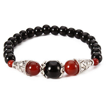 Ethnic Style Jewelry Vintage Agate Beads Silver Women Bracelet