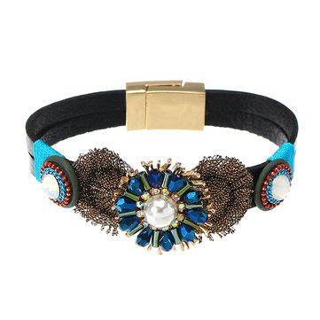 Stylish Leather Bracelet Bohemian Flower Crystal Handmade Unisex Jewelry Gift