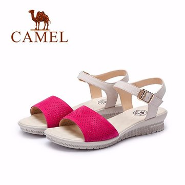 Camel Leather Color Match Breathable Buckle Flat Casual Sandals