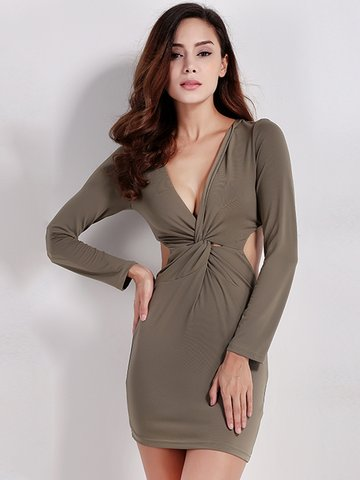 Женщины Sexy Deep V Twist Bodycon Backless Long Sleeve Mini Dress