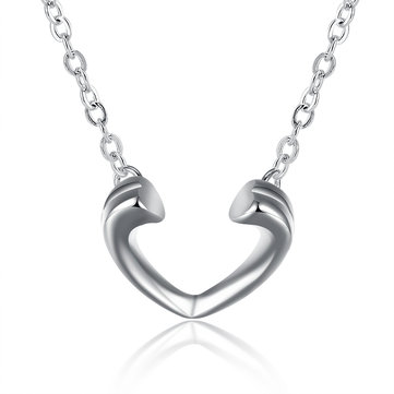 Sweet Heart Necklace Silver Plated Women Necklace