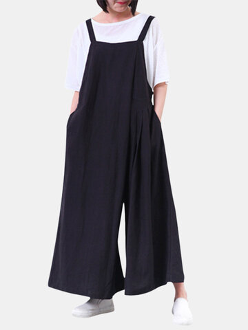 O-NEWE Casual Solid Strap Pockets Wide Leg Pants Women Jumpsuits