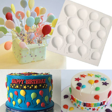 10x10cm Balloons Silicone Fondant Mould Cake Decor Sugar Icing Gum Paste Chocolate Mat