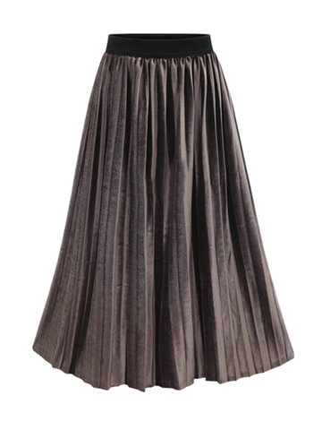 Casual Stitching Elastic Waist Pleated Skirts For Women