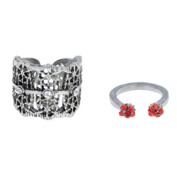 Hollow Red Rhinestone Midi Knuckle Ring
