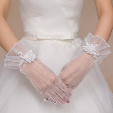Красивые невесты Полные пальцы Кружевные перчатки Декоративные цветы Свадебное платье Аксессуары