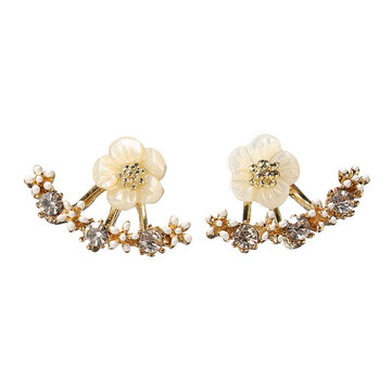 Cute Daisy Flower Crystal Ear Stud Earrings
