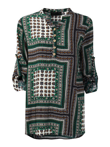 Gracila Vintage Patchwork Printed Long Sleeve T-shirts