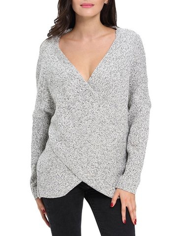 Women Casual Cross Wrap V-neck Tunic Long Sleeve Sweater