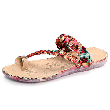 Large Size Colorful Beaded Flower Clip Toe Flat Slippers