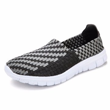 Men Knitting Weave Color Match Slip On Flat Casual Sport Shoes