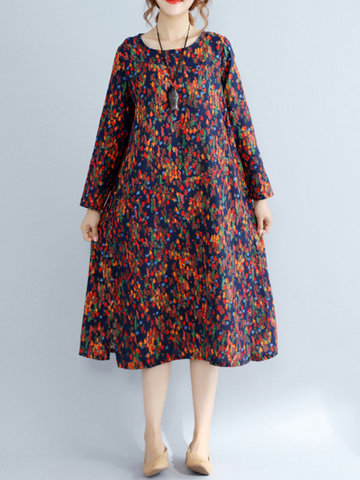 Floral Printed Long Sleeve Mid-Long O-Neck Vintage Dresses For Women