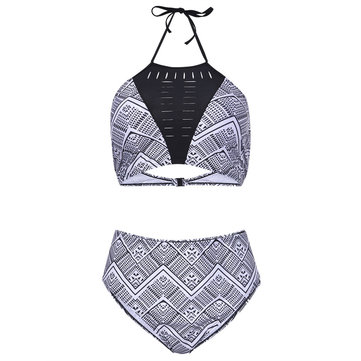 Plus Size Sexy High Neck Halter Bikini Sets Printing Swimsuit For Women