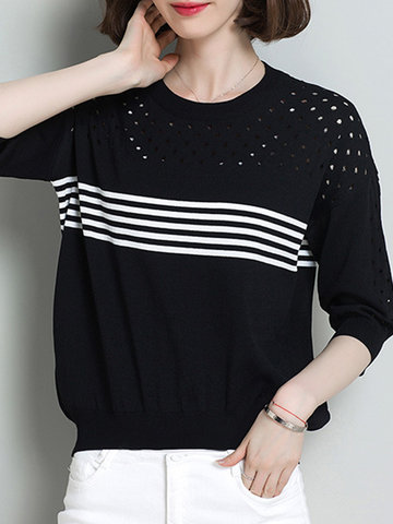 Casual Stripes Hollow Long Sleeves Knitted Shirts For Women