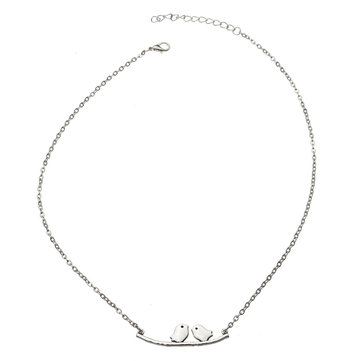 Lovely Birds Branch Silver Clavicle Necklace