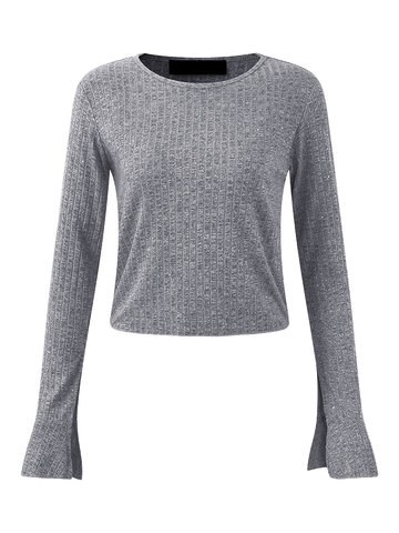 Casual Tight Trumpet Long Sleeve Women Knitted Blouses