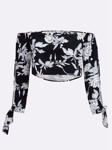 Sexy Floral Print Off-shoulder Slit Long Sleeve Women T-shirt