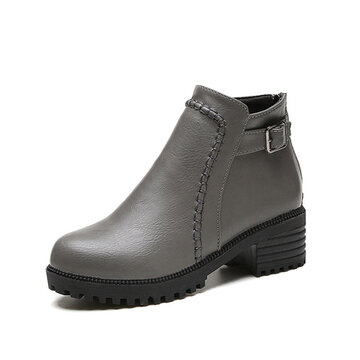 Buckle Square Heel Ankle Zipper Platform European Style Boots