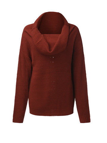 Casual Women Solid Long Sleeve Heap Collar Knitted Sweater
