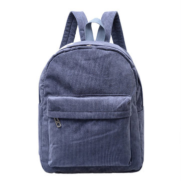 Students Corduroy Backpack Retro Shoulder Bag Womens Outdoor Rucksack