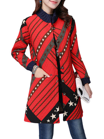 Stripe Star Printed Long Sleeve Stand Collar Button Long Coat For Women