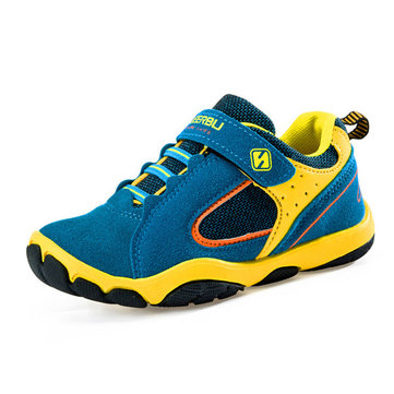 Suede Mesh Breathable Multicolor Comfortable Kids Sports Shoes