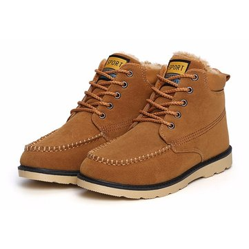 Men Winter Leather Lace Up Comfortable Flat Ankle Boots
