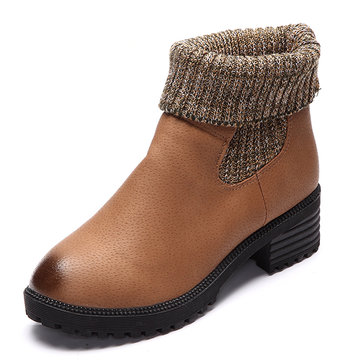 Two Ways Wear Med Heel Knitting Sock Leather Ankle Boots