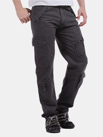 Multi-pocket Multicolor Military Loose Casual Cotton Cargo Pants For Men
