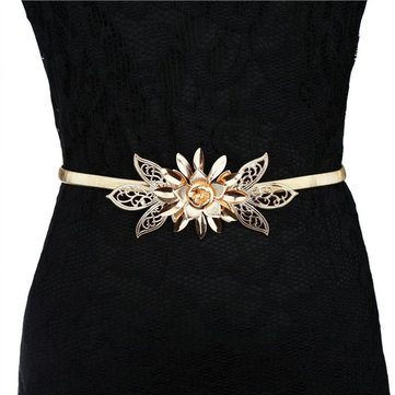 Women Metal Flower Elastic Stretch Waist Belt Strap Cummerbund Waistband