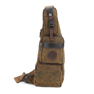 Men Canvas Leisure Chest Bag Crossbody Bag Outdoor Travel Hiking Fishing Multifunction Shoulder Bag