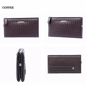 Portable PU Leather Wallet Solid Square Checkerboard Coin Purse For Man