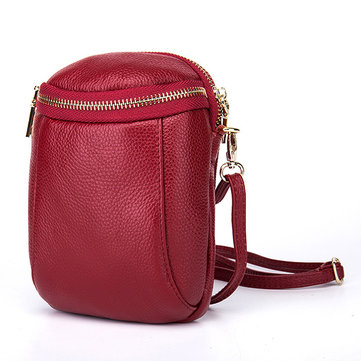 Women Genuine Leather Bucket Phone Bag Mini Crossbody Bag