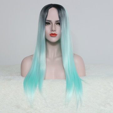 Long Straight Light Green Cosplay Synthetic Wig High Temperature Fiber Hair For Women