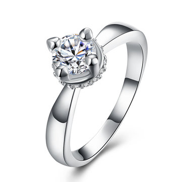 YUEYIN Luxury Ring Four Claws Zircon Ring for Women Gift