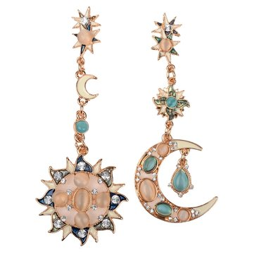 Star Sun Moon Rhinestone Crystal Earrings