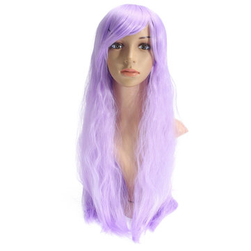 70cm Light Purple Corn Perm Long Curly Wavy Cosplay Wig Party Daily Wigs