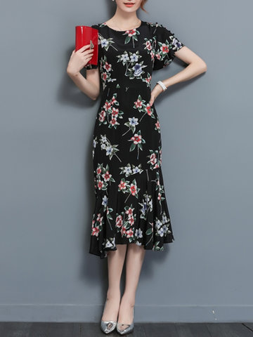 Basic Women Floral Short Sleeve Print Dresses